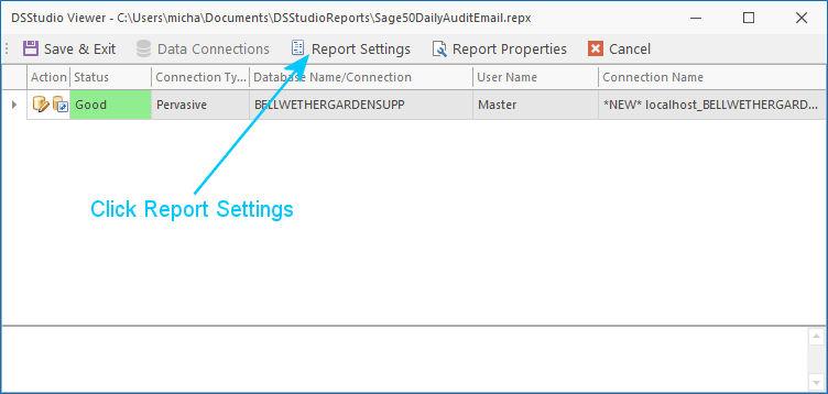 DSStudio Report Settings Screen