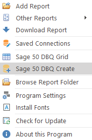 Sage 50 Create DBQ Name Menu