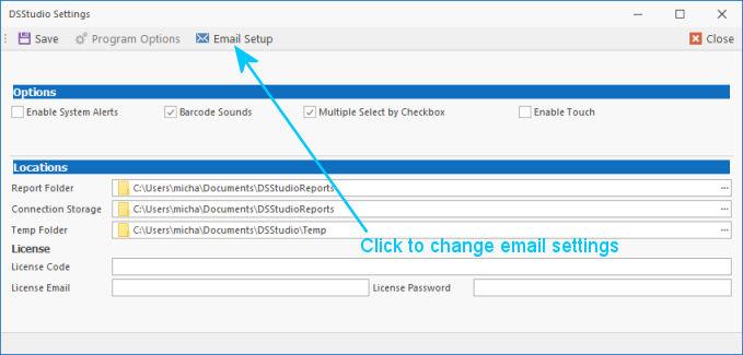 DSStudio Email Setup Screen