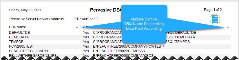 DSStudio Interactive Sorting Multiple Columns Report