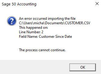 Sage 50 Import Error