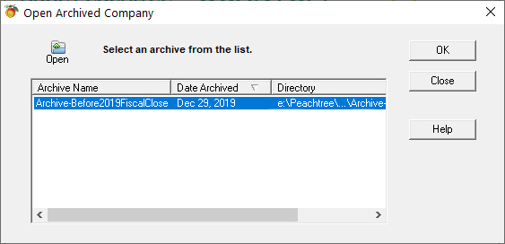 Sage 50 Open Archive Select from list Screen