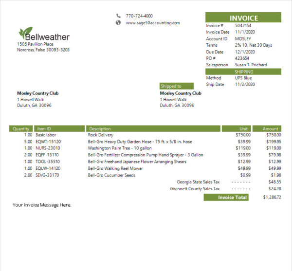 Sage 50 Simple Invoice Products