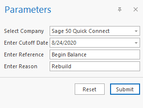 Sage 50 Inventory Evaluation Export Parameters