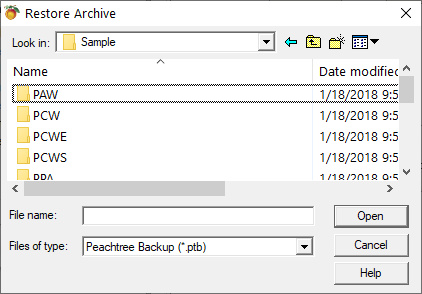 Sage 50 Restore Archive Company Screen Shot