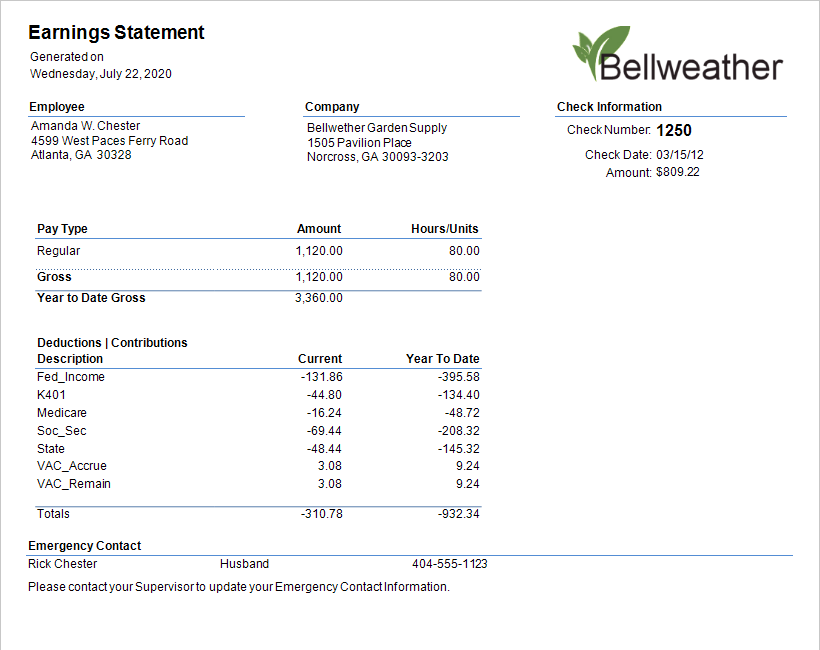 Sage 50 Payroll Stub Emailed