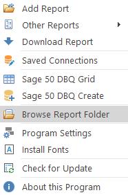DSStudio Browse Report Folder Menu Item