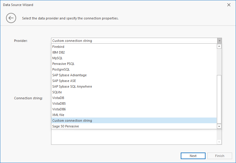 DataSource Wizard Custom Connection Strings Screen 1