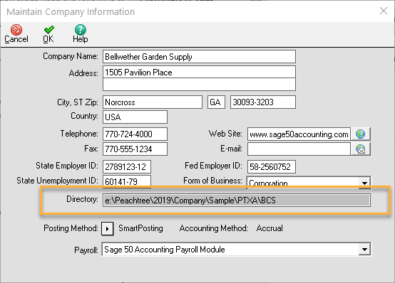 Sage 50 Company Data Location