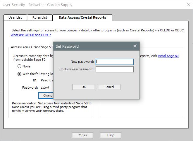 Sage 50 Data Access Set Password