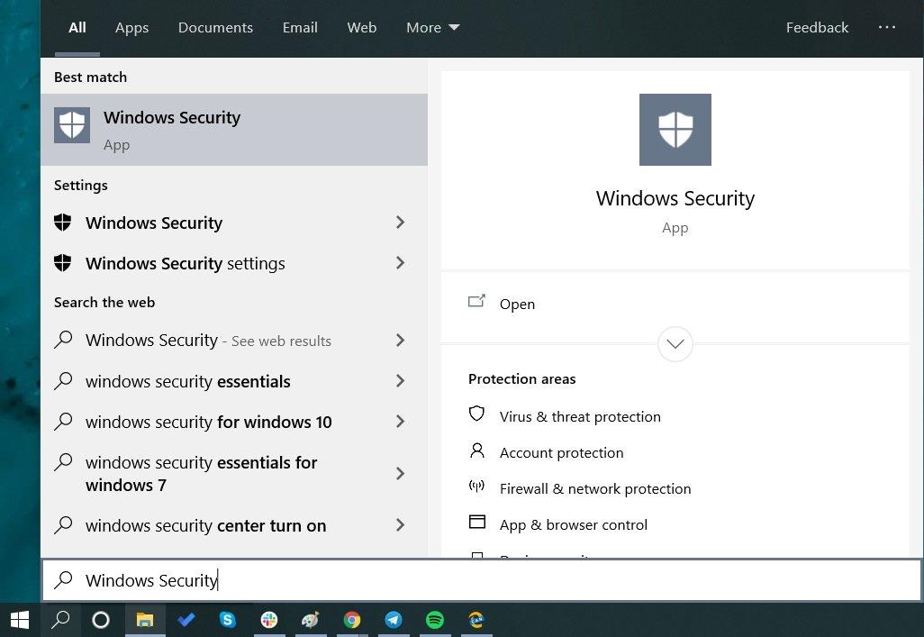 Search Windows Security App