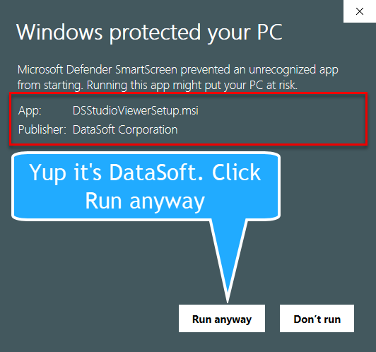 Windows protected your PC Certificate Shown