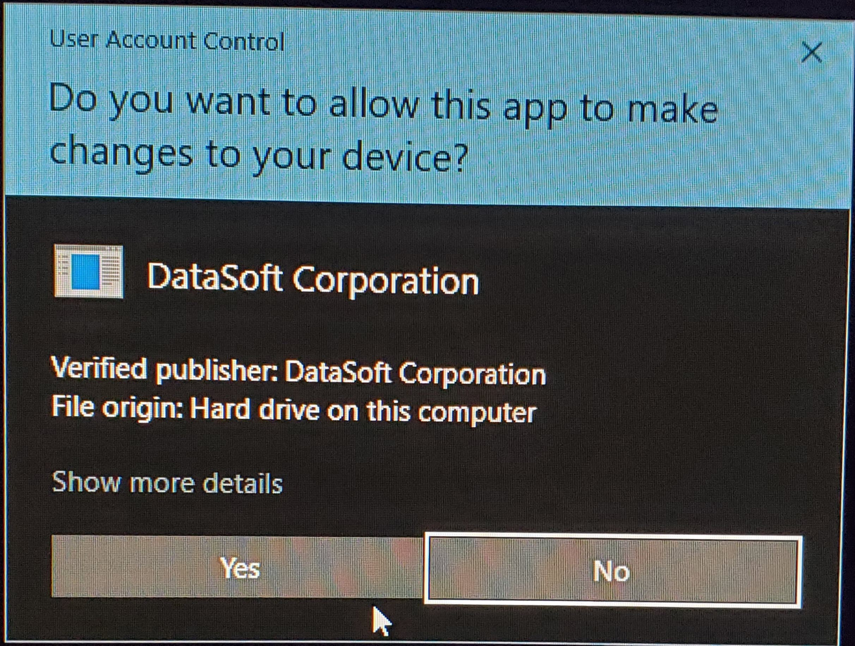 User Account Dialog Warning