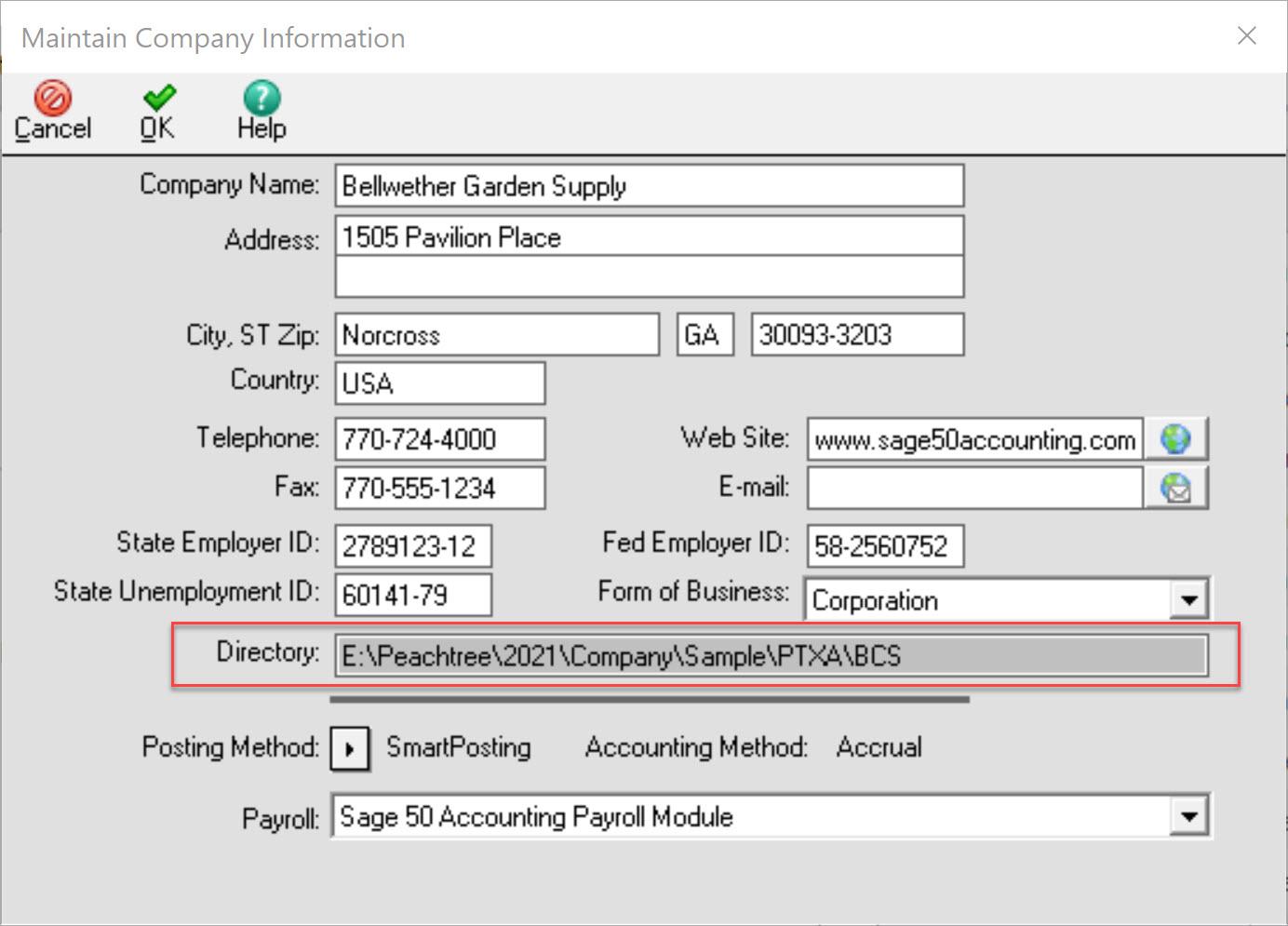 Sage 50 Maintain Company Information Data Location