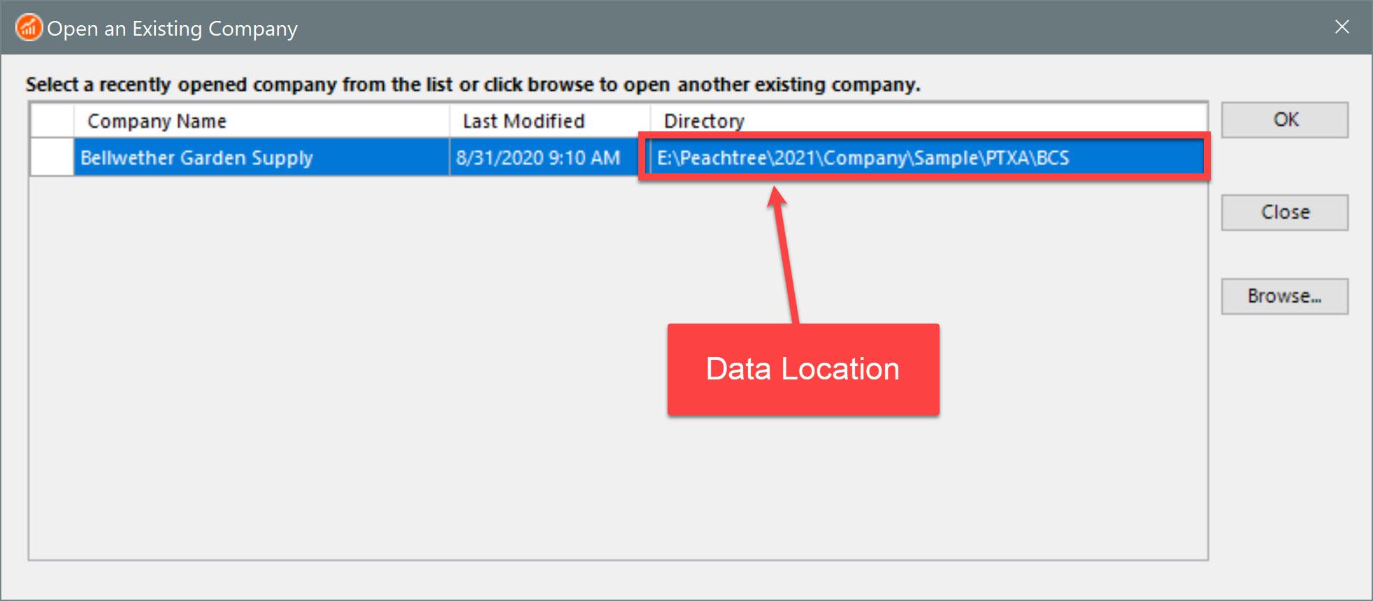 Sage 50 Open Company Dialog Data Folder
