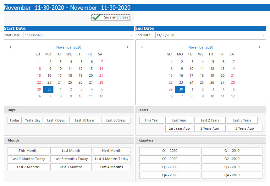 DSStudio Date Range Picker