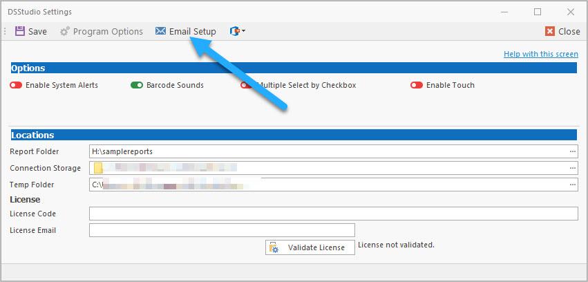 DSStudio Viewer Program Settings Email Setup